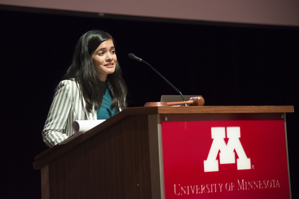 Minnesota Student Association President Simran Mishra gives the president's update at Coffman Union on Tuesday, Dec. 4. Medical amnesty was one of the many issues covered in Tuesday's forum meeting.