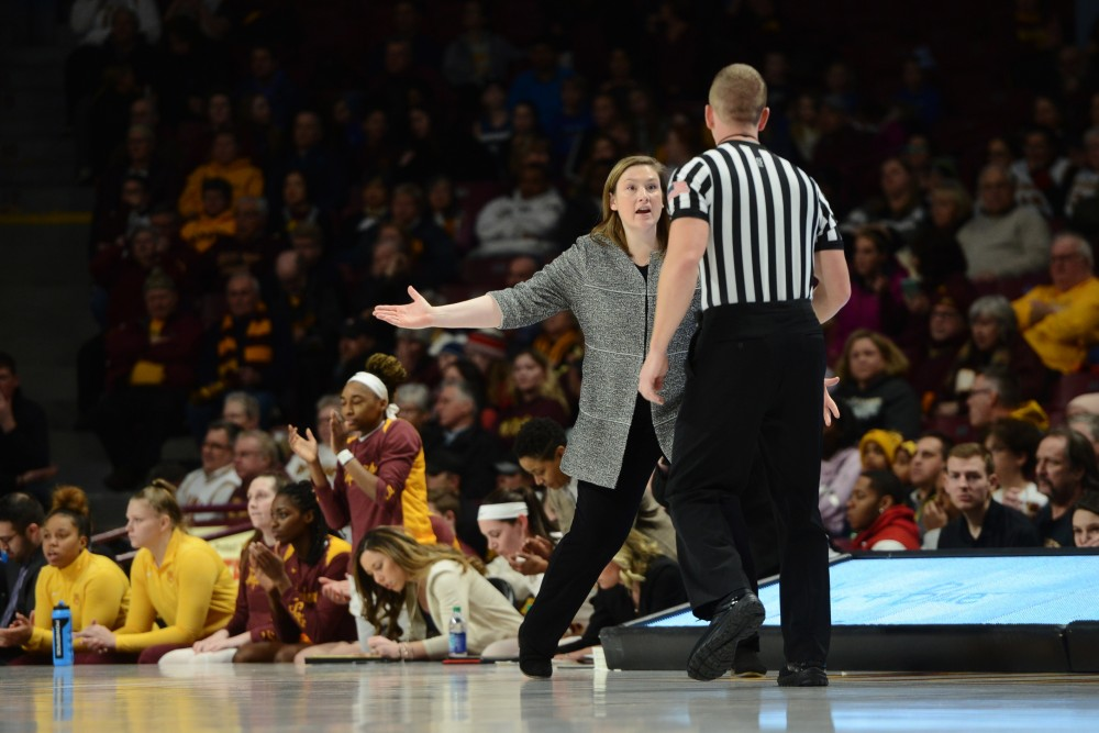 Coach Lindsay Whalen questions the referee's call during the game against Purdue on Thursday, Jan. 24.