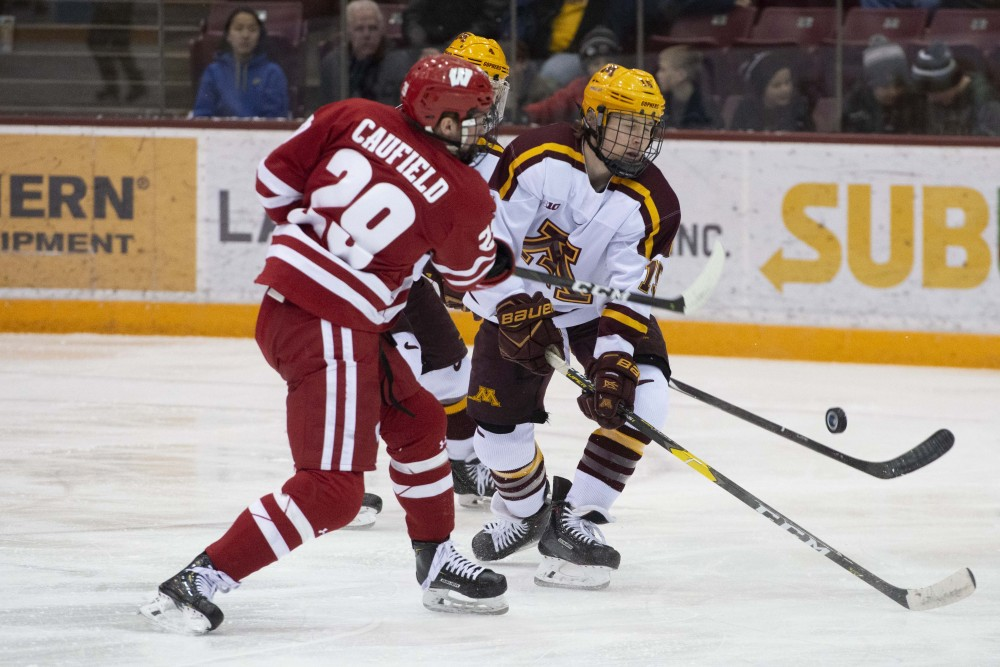 Junior Rem Pitlick works to keep the puck away from Wisconsin on Friday, Jan. 25 at 3M Arena at Mariucci.
