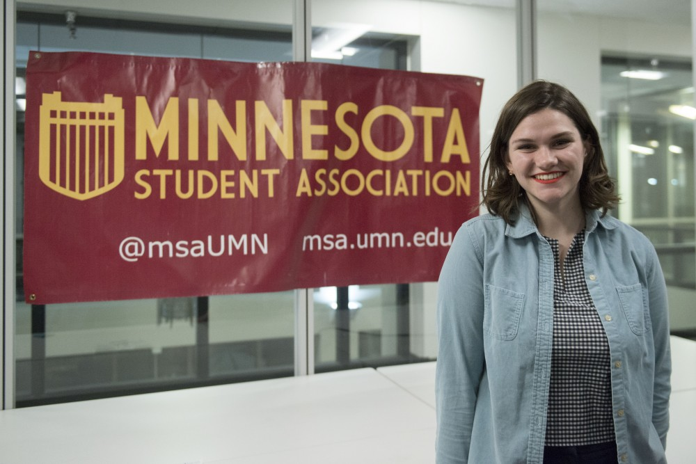 Christina Laridaen, Minnesota Student Association government and legislative affairs coordinator stands in the MSA room on Thursday, Jan. 24 at Coffman Union. Laridaen facilitated a vigil Thursday evening for sexual assault survivors and a comment writing bank for the proposed Title IX changes.