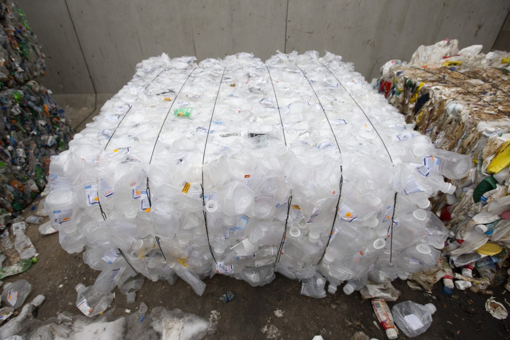 A bale of #5 plastics, weighing about 1,100 pounds, sits outside the Como Recycling Facility on Friday, Jan. 18 in Minneapolis. One bale, which is made up of mostly waste from the University's research facilities, takes around three weeks to make.