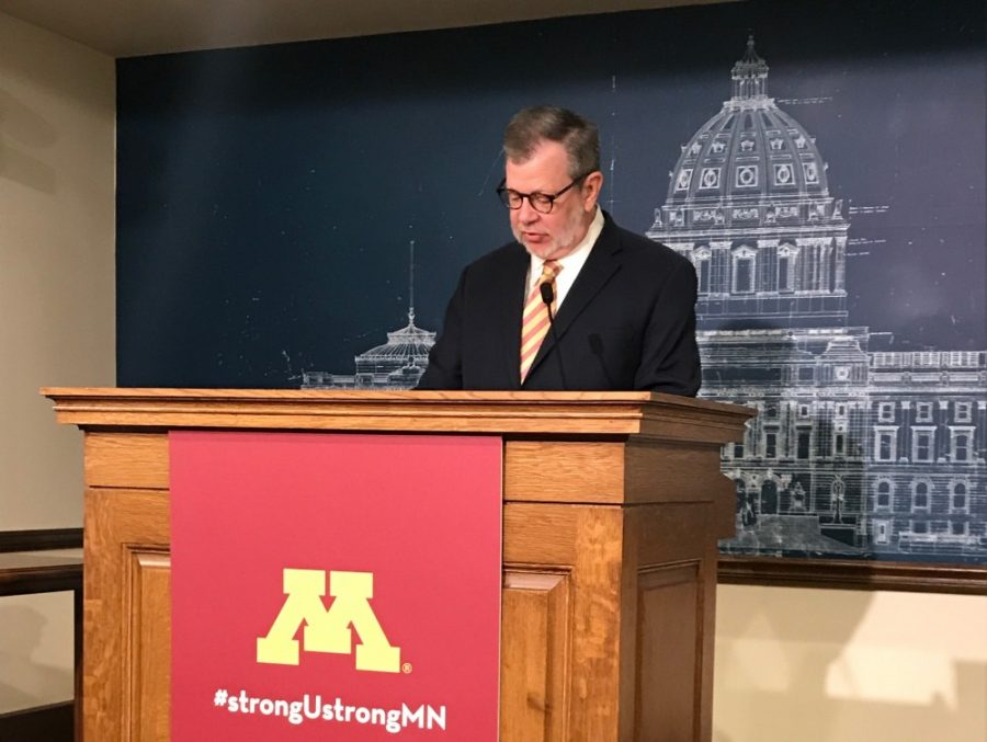 University+of+Minnesota+President+Eric+Kaler+speaks+at+the+Minnesota+Capitol+on+Wednesday%2C+Jan.+9.