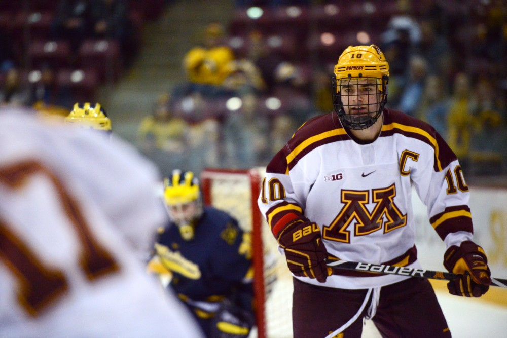Senior forward Brent Gates Junior looks to the play on Friday, Feb. 1 at 3M Arena at Mariucci.