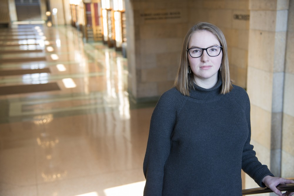 Hannah Carlin poses for a portrait on Saturday, Feb. 2 at Northrop Auditorium in Minneapolis. Carlin was diagnosed with cancer at 16 months old.