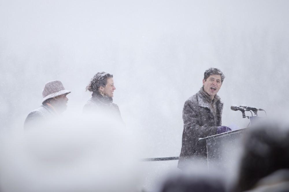 Minneapolis Mayor Jacob Frey sings Amy Klobuchar's praises before the senator took the stage on Sunday, Feb. 10 at Boom Island Park in Minneapolis.