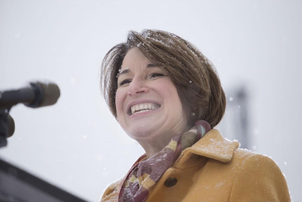 Sen. Amy Klobuchar, D-Minn., formally announces a bid for the United States presidency on Sunday, Feb. 10 at Boom Island Park in Minneapolis.