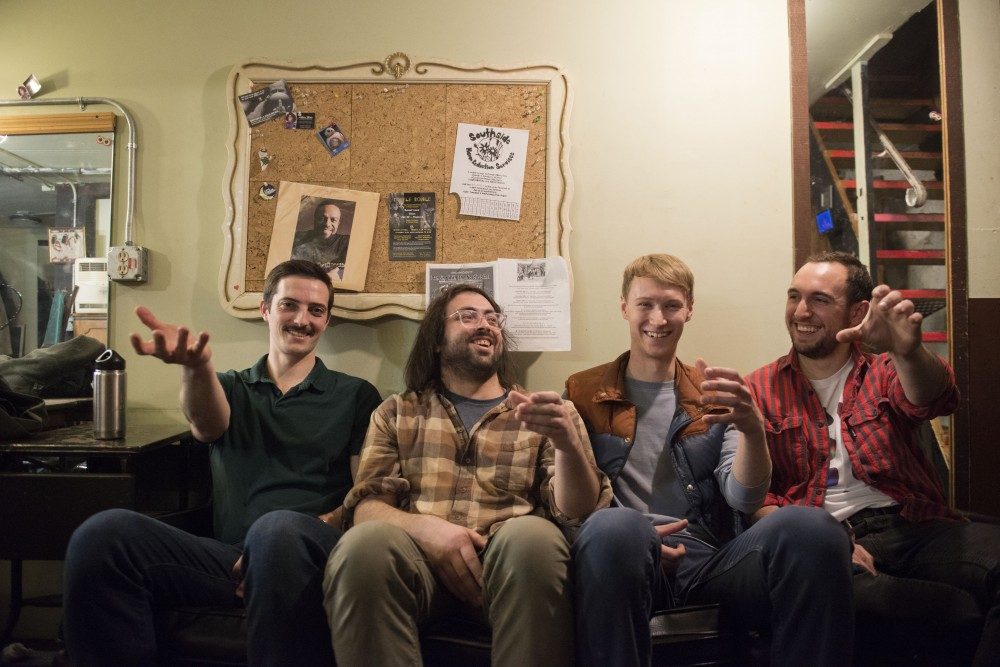 Andy Engstrom, Nick Baker, Noah Welter and Chase Wackerfuss of Fragile Canyons pose for a portrait on Saturday, Feb. 16 at Bryant-Lake Bowl and Theater in Minneapolis. The show brought in around 50 people Saturday night.