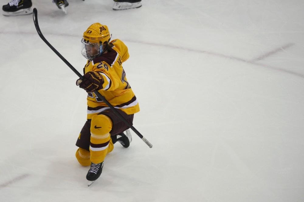 Junior Tyler Nanne celebrates after his goal in the first period on Saturday, Feb. 23 at Mariucci Arena. The Gophers beat Notre Dame 2-1.