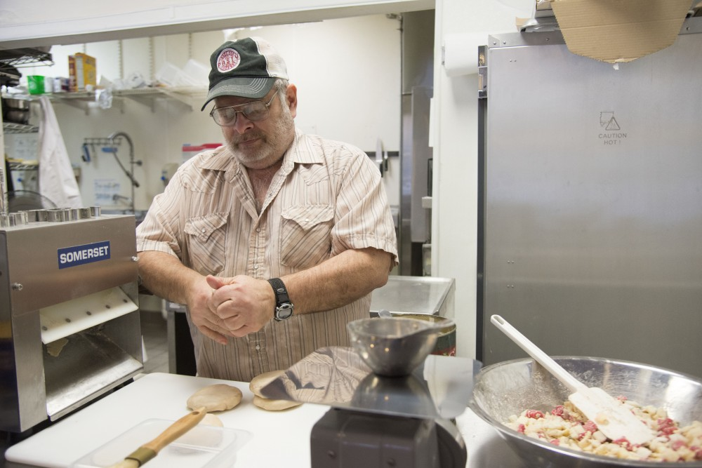 Jon Earl prepares a batch of pasties on Friday, Feb. 22 at Lands End Pasty Company in Dinkytown. Earl and his nephew, Pete Jacobson, will compete in the World Pasty Championships for the first time since opening their shop in June of 2014.