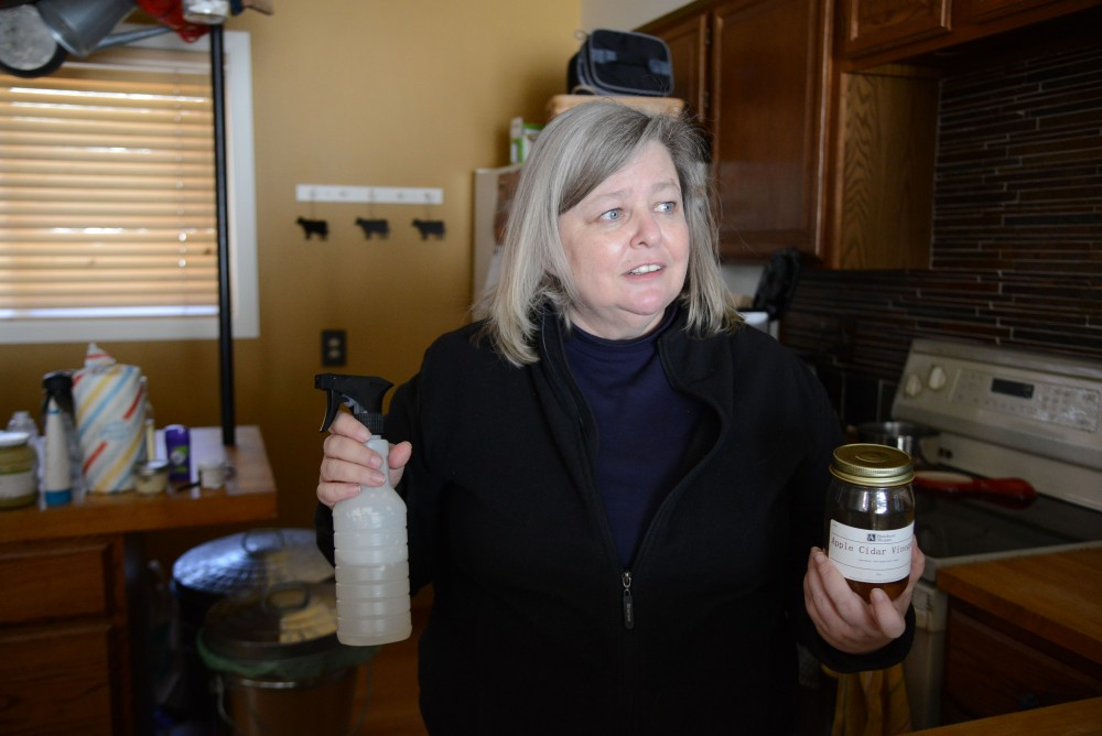 Allison Sandve shows some sustainable living products on Sunday, Feb. 24 at her home in St. Paul. Sandve started living a plastic-free lifestyle almost a year ago and plans to continue exploring ways to incorporate sustainability into her life.