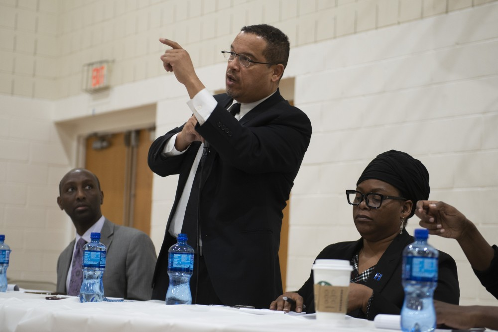 Minnesota Attorney General Keith Ellison speaks during the United Black Legislative Caucus at the Brian Coyle Center in Cedar-Riverside on Wednesday, Feb. 27, 2019.