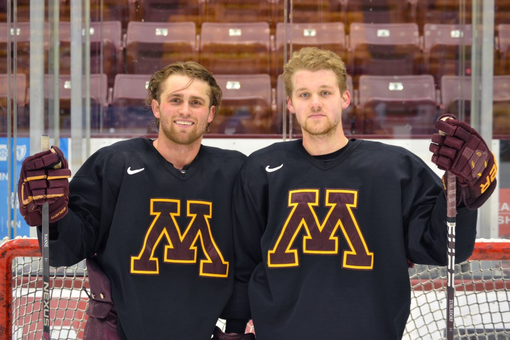 Defensemen Tyler Nanne, left, and Ryan Zuhlsdorf pose for a portrait after practice on Wednesday, Feb. 27.