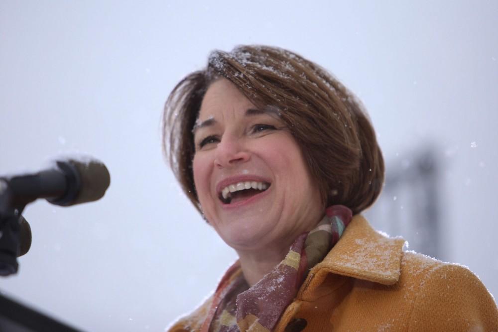 Senator Amy Klobuchar announces her 2020 presidential bid on Sunday, Feb. 10 at Boom Island Park in Northeast Minneapolis.