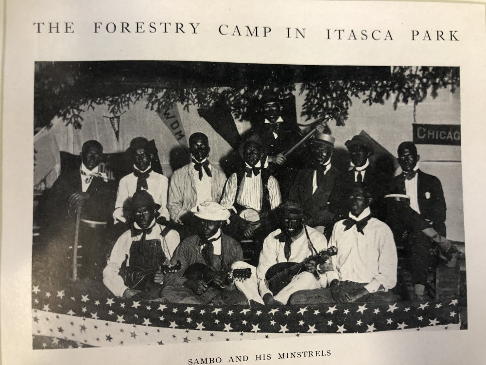 Photos printed in the early 1900s from University of Minnesota yearbooks depicting discriminatory practices and actions on campus.
