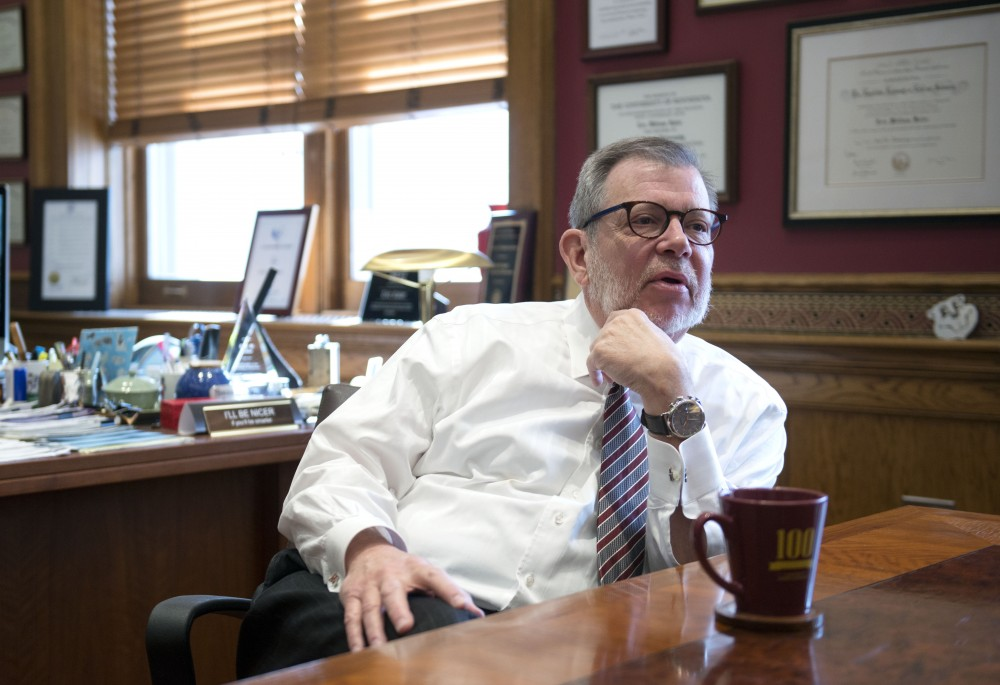 President Eric Kaler answers questions for the Minnesota Daily in his Morrill Hall office on Thursday, Feb. 14.
