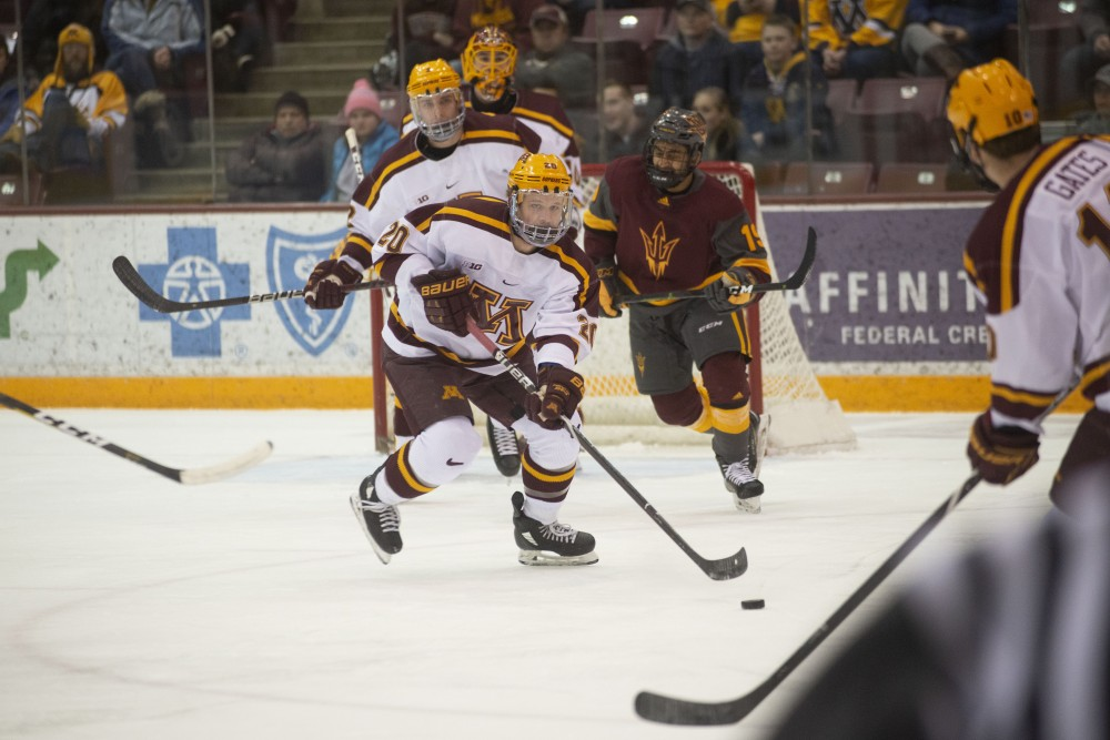 Junior Ryan Zuhlsdorf skates away from the Gophers' goal during the game against Arizona State on Friday, March 1 at 3M at Mariucci Arena.
