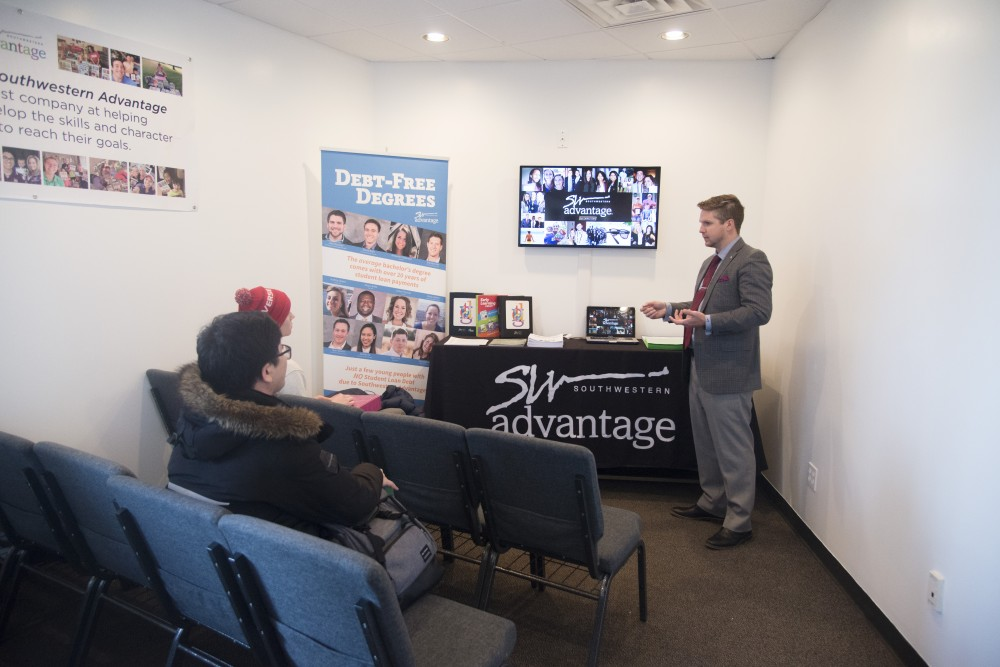 AJ Skalsky gives a presentation to students on Wednesday, Feb. 27 at the Southwestern Advantage office in Minneapolis.