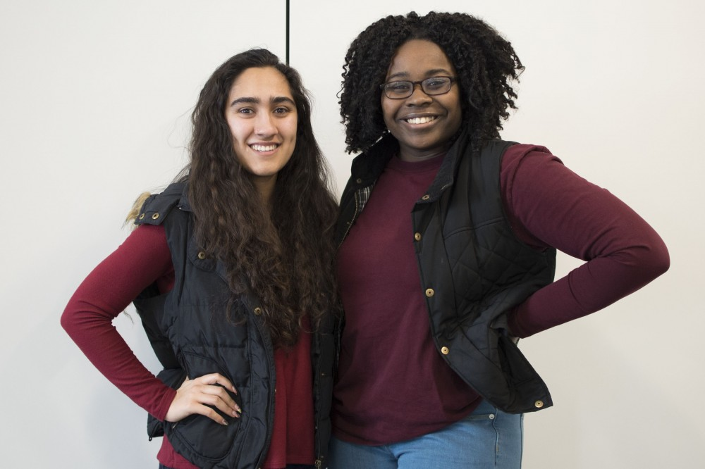 MSA presidential candidate, Mina Kian, and vice presidential candidate, Jael Kerandi, pose for a portrait on Saturday, March 9 at Coffman Union.