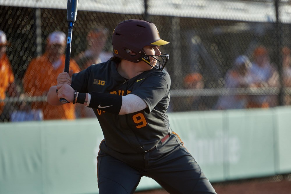 Sophomore infielder Hope Brandner winds up to hit the ball.