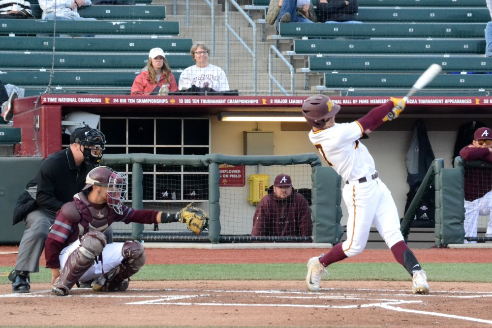 Shortstop Jordan Kozicky hits a solo home run in the bottom of the second inning on Wednesday, March 27 at Siebert Field.