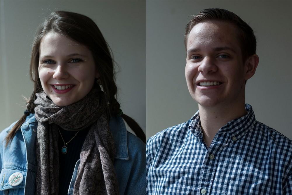 Newly-elected Minnesota Daily leadership, Cleo Krejci, left, and Kyle Stumpf.