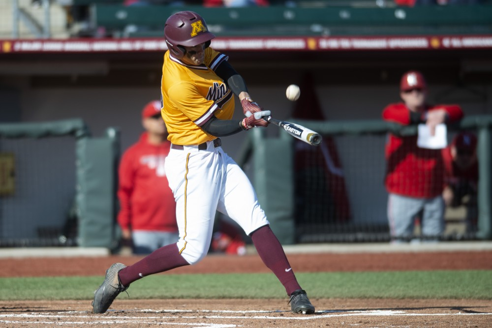 Outfielder Easton Bertrand swings at bat at Siebert Field on Friday, March 29.