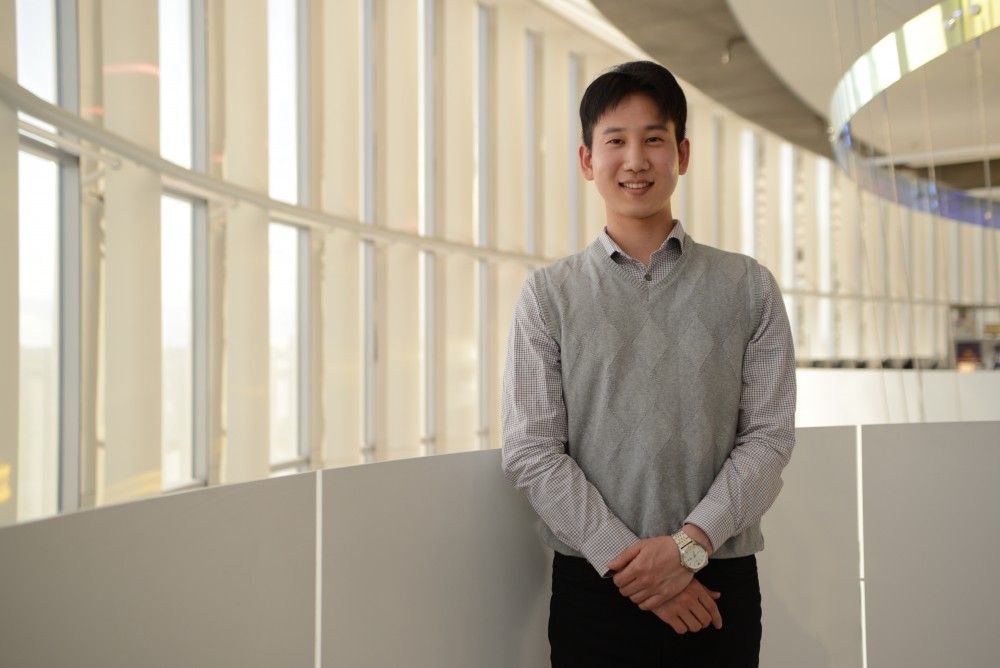 University of Minnesota graduate Hojae Kim poses for a portrait on Thursday, March 28 in Bruininks Hall. Kim is the intern program coordinator for the Korean Military Leave Support Program on campus and took time off from school between 2014 and 2016 to serve in the Korean military.