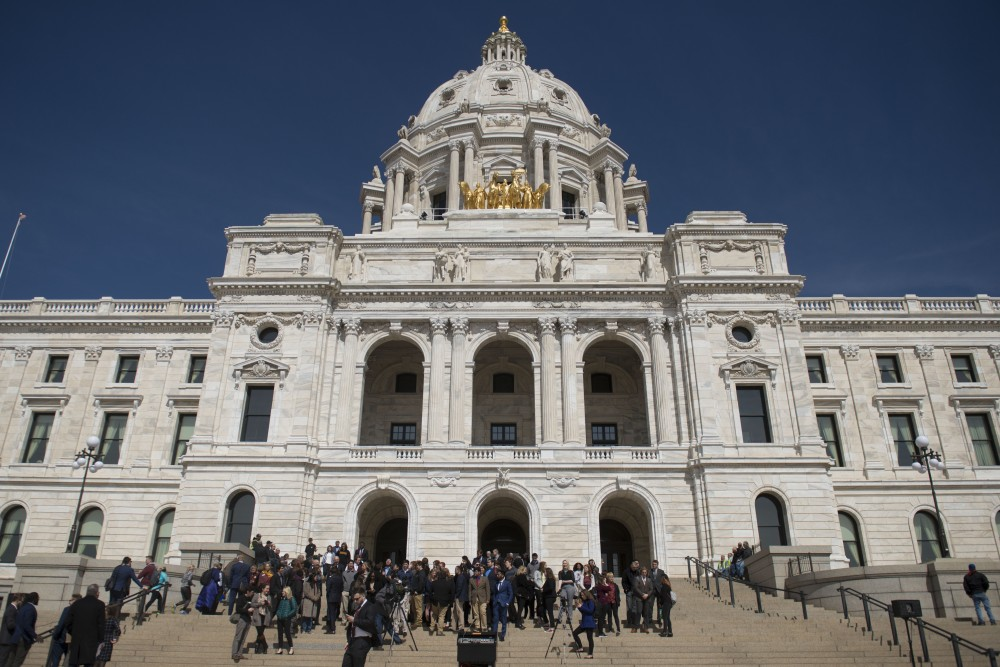 Students from the University of Minnesota campuses including the Twin Cities, Crookston and Morris gather on the steps for a rally at the Minnesota State Capitol on Wednesday, April 3 as a part of Support the U Day.