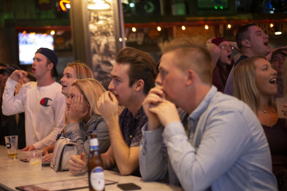 The bar at Sally's Saloon in Stadium Village anticipates the next play during the NCAA Final Four Championship game on Monday, April 8 in Minneapolis. Virginia beat Texas Tech 85-77 in overtime.