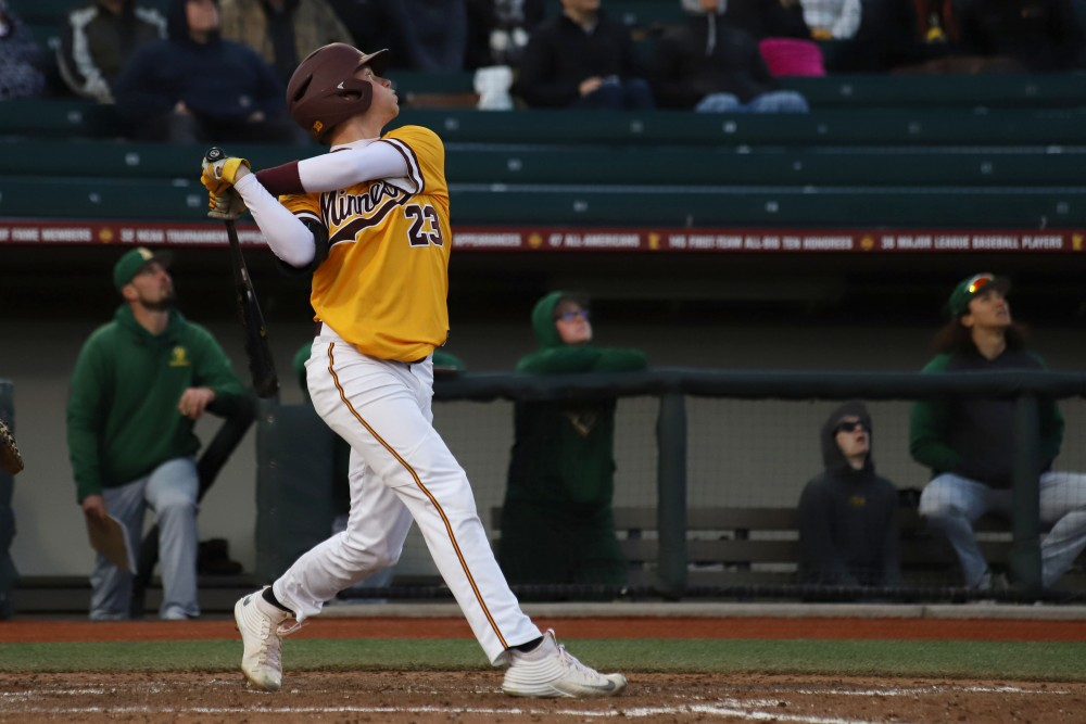 Max Meyer watches the ball at Siebert Field on Tuesday, April 9.