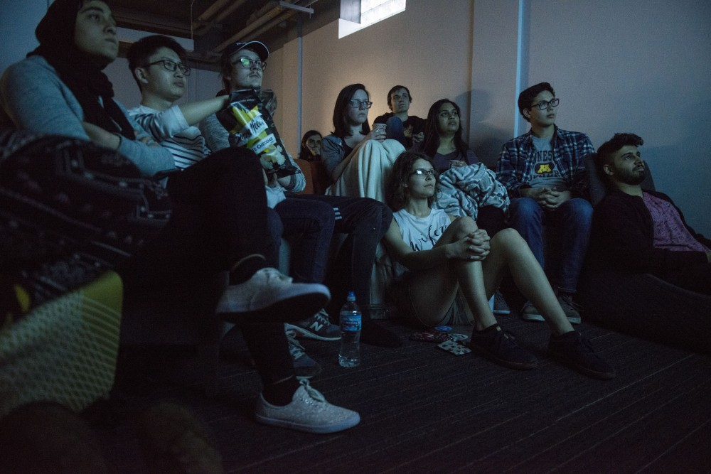 Students watch the premiere of the first episode for the final season of