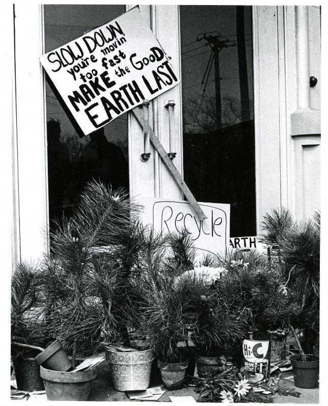 A display made on campus by students for the first Earth Day, 1970