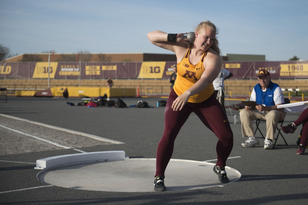 Redshirt senior Kiley Sabin winds up to throw at the Minnesota Track & Field Stadium in Minneapolis on Wednesday, April 24.