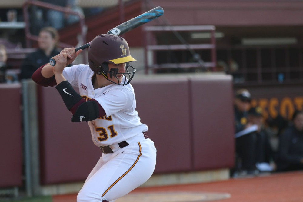 Natalie Denhartog waits for the pitch during the game against Iowa at the Jane Sage Cowles Stadium on Friday, April 26.