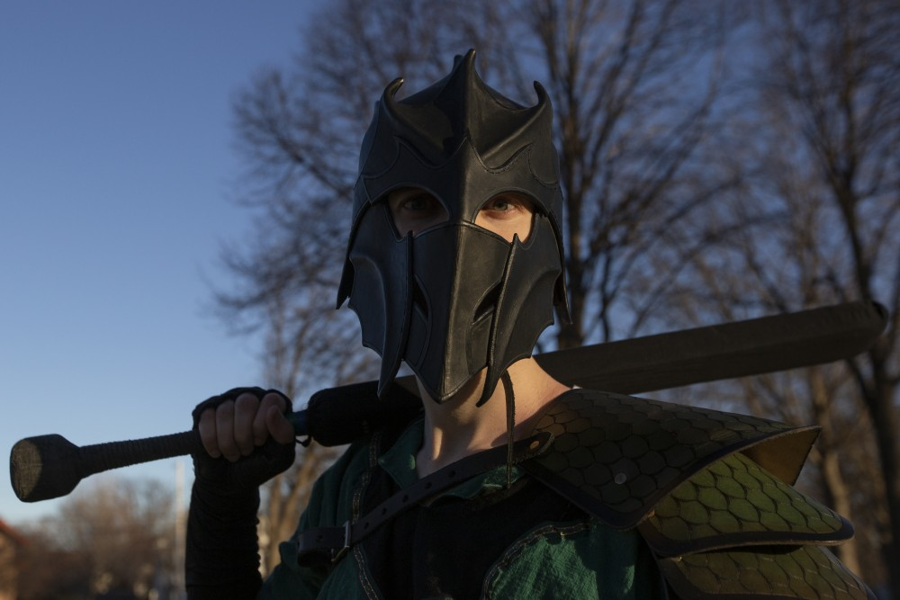 7:16 p.m. Tyler Thomas, whose larping fighter name is