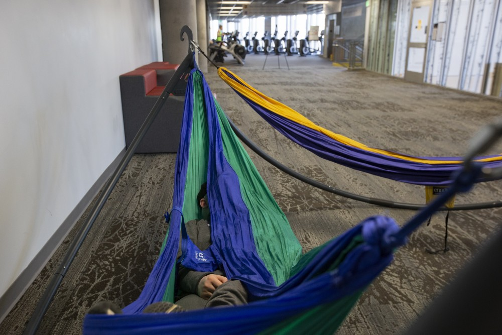 8:47 a.m. An anonymous student snores in the University Recreation and Wellness Center's indoor hammocks.