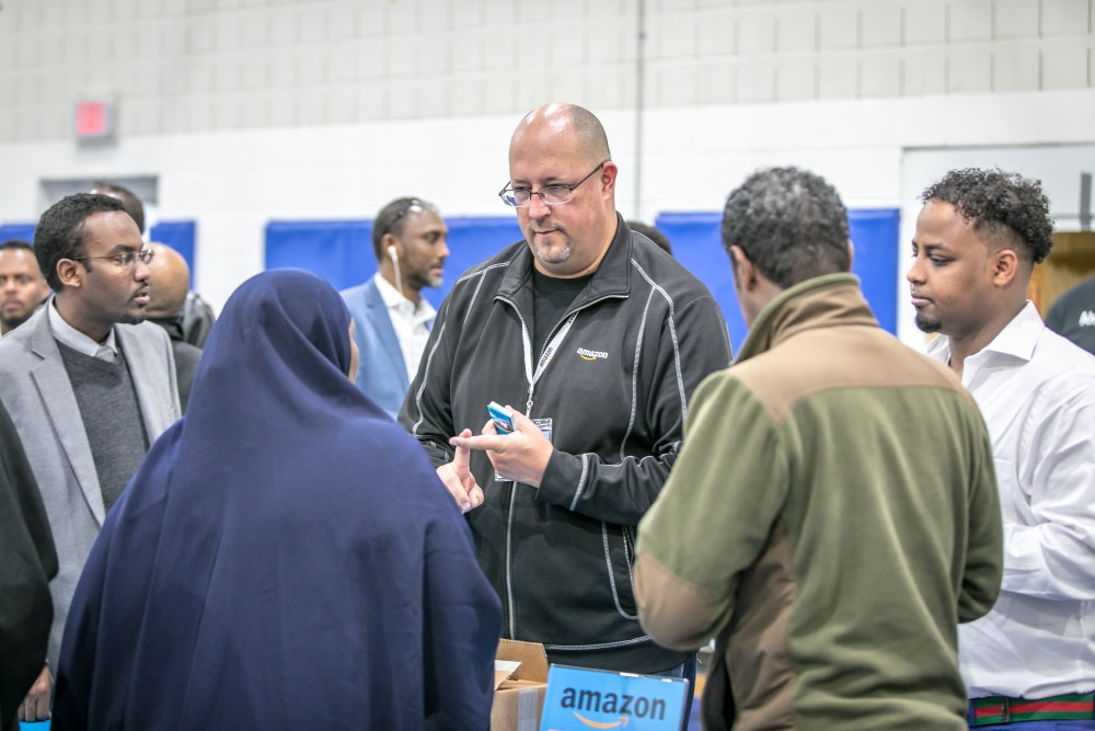 Hundreds of people attended Ahlan Amazon, an event held April 30 at Cedar-Riverside's Brian Coyle Center. Many meeting attendees were there to network with Amazon representatives and expand their partnership with the tech giant.
