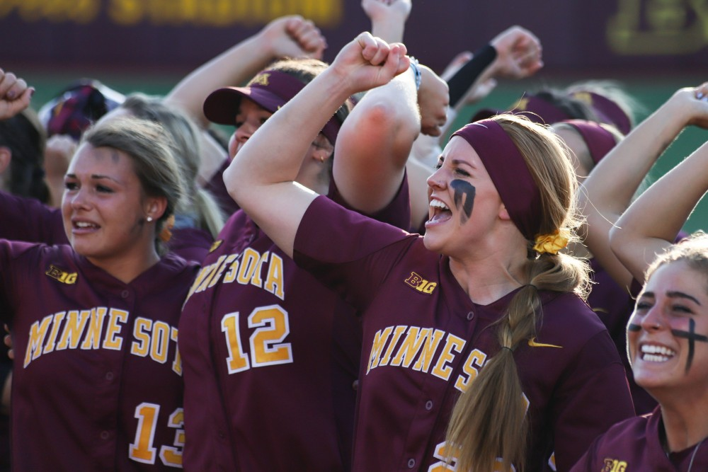 Members of the Gopher softball team celebrate after winning the NCAA Super Regional against Louisiana State at Jane Sage Cowles Stadium on Saturday, May 25.