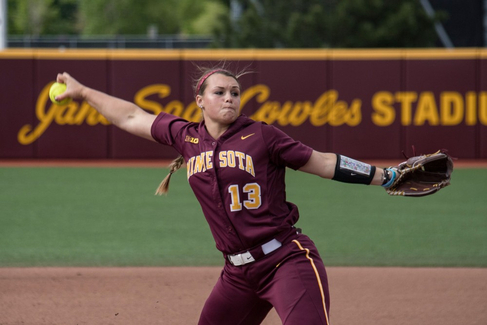 Amber Fiser pitches during the game against Louisiana State University on Saturday, May 25, 2019 at the Jane Sage Cowles Stadium.