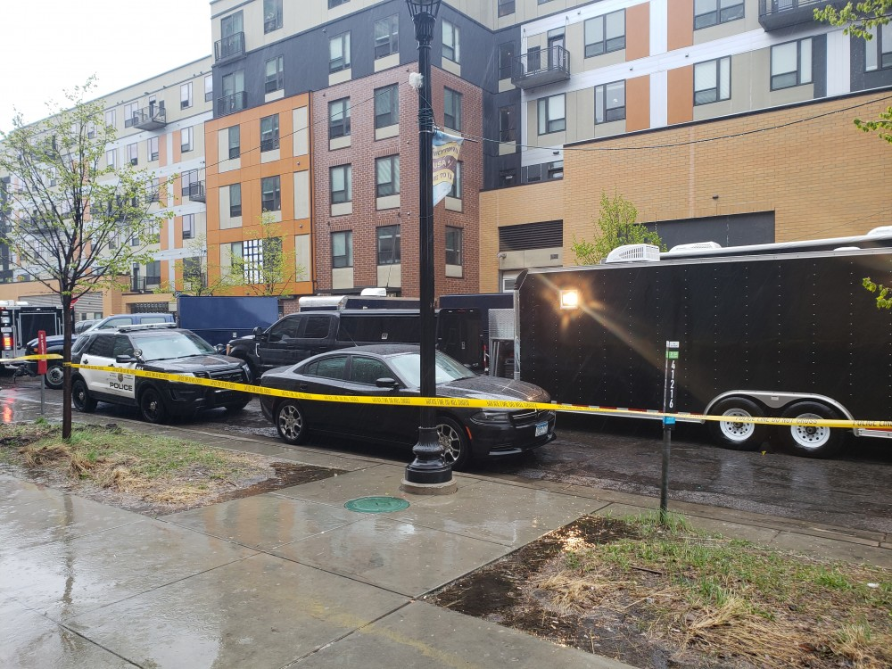Law enforcement vehicles pack the street in front of the Marshall apartment complex in Dinkytown on Wednesday, May 8. The FBI is leading the investigation with support from the Minnesota National Guard and Minneapolis Police and Fire Departments.