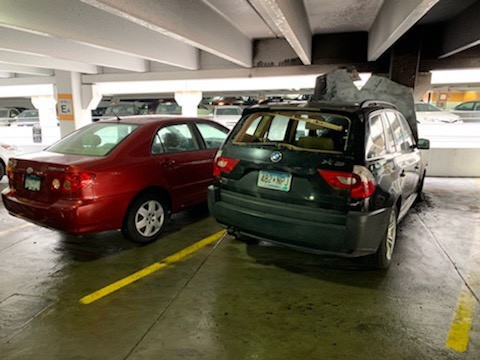 A black SUV caught fire in the Oak Street Parking Ramp on Thursday, May 2.