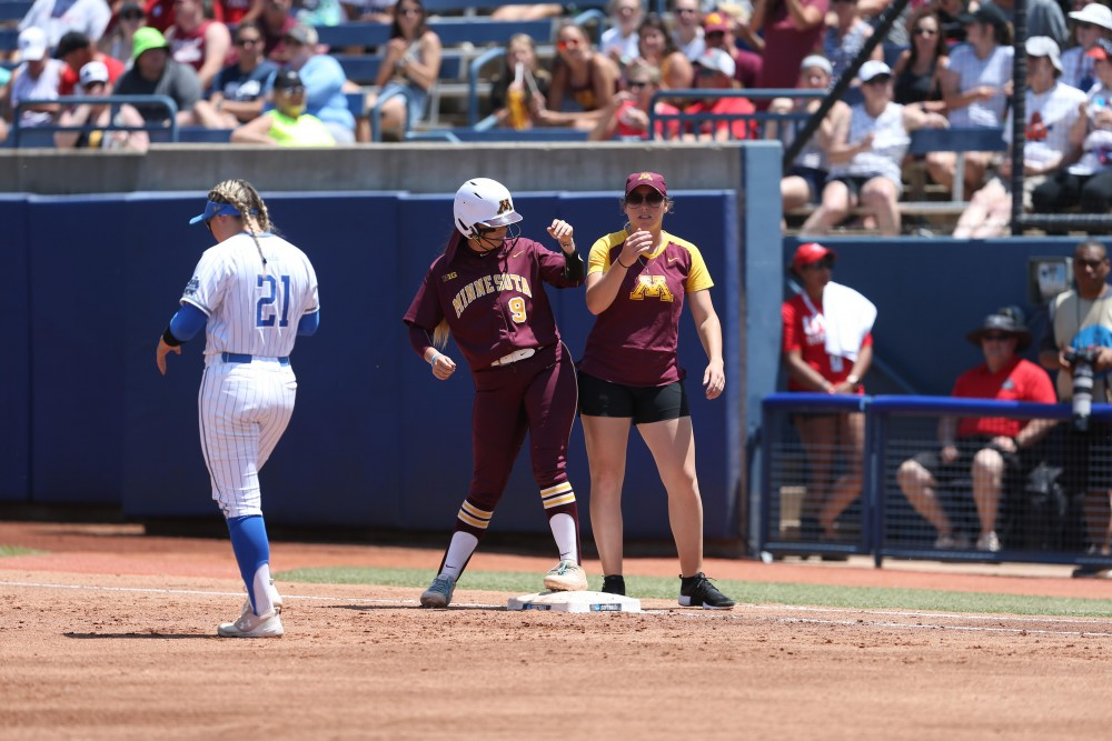 Hope Brandner stands on base during the Women's College World Series on May 30.