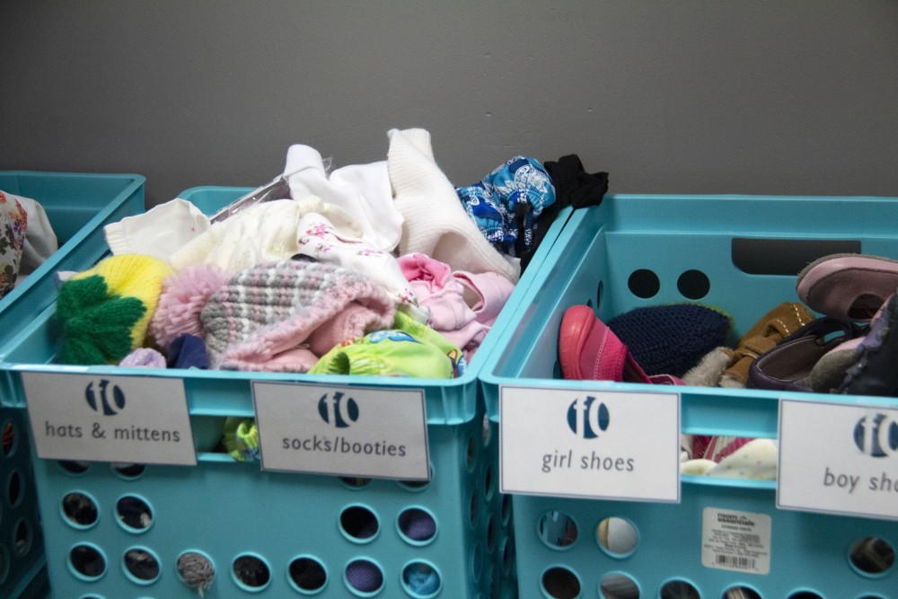 First Care Pregnancy Center awards clients points when they attend a paretning program session, which can be redeemed for children's clothing and toys.