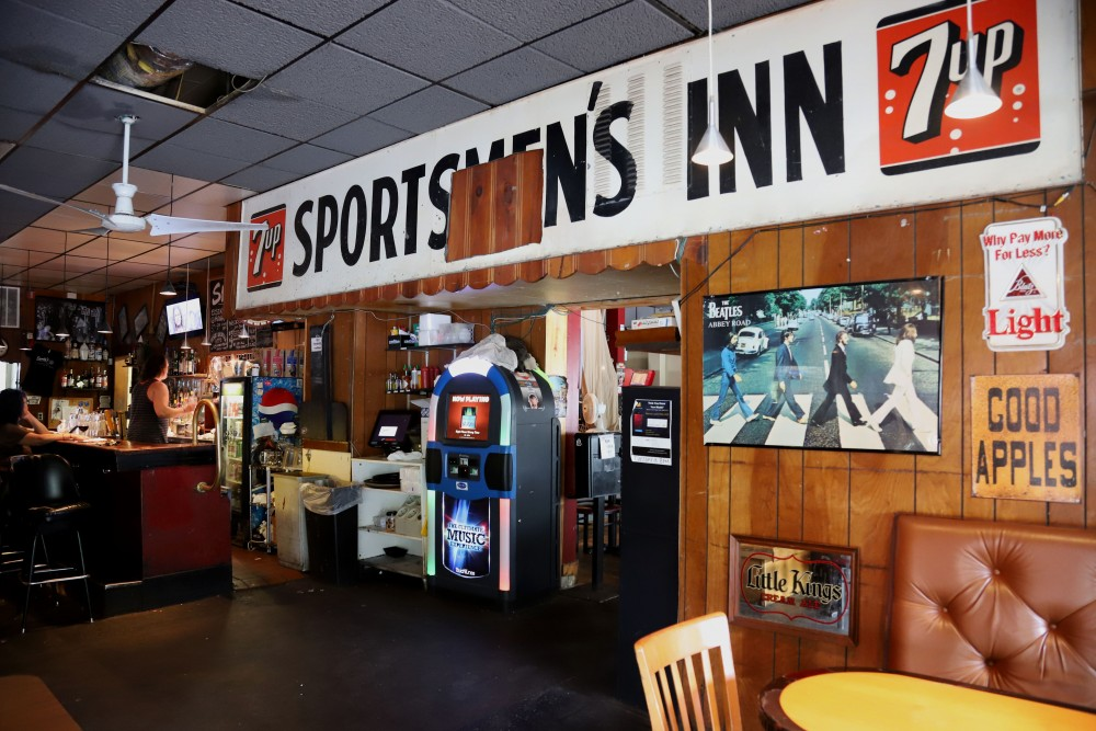 A sign for the Sportsmen's Inn hangs inside of Sporty's Pub and Grill on Como Avenue in Minneapolis on Monday, June 17.