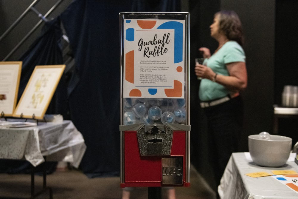 A gumball machine that contains poems written by people in the Minnesota Prison Writing Workshop's (MPWW) program sits on display at Moon Palace Books in Minneapolis on Wednesday, June 27. The gumball machine contained poems and raffle tickets for the MPWW's Gumball Extravaganza.