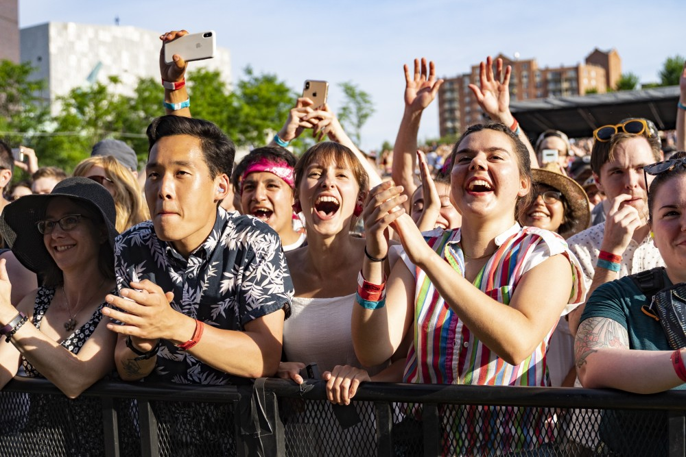 The crowd cheers as Courtney Barnett plays her opening set on the main stage at Rock the Garden on Saturday, June 29 at the Walker Art Center in Minneapolis.
