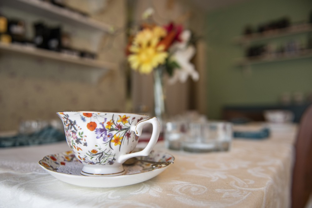 A tea cup sits on a table on Wednesday, July 24 at Lady Elegant's Tea Room & Gift Shoppe in St. Paul.