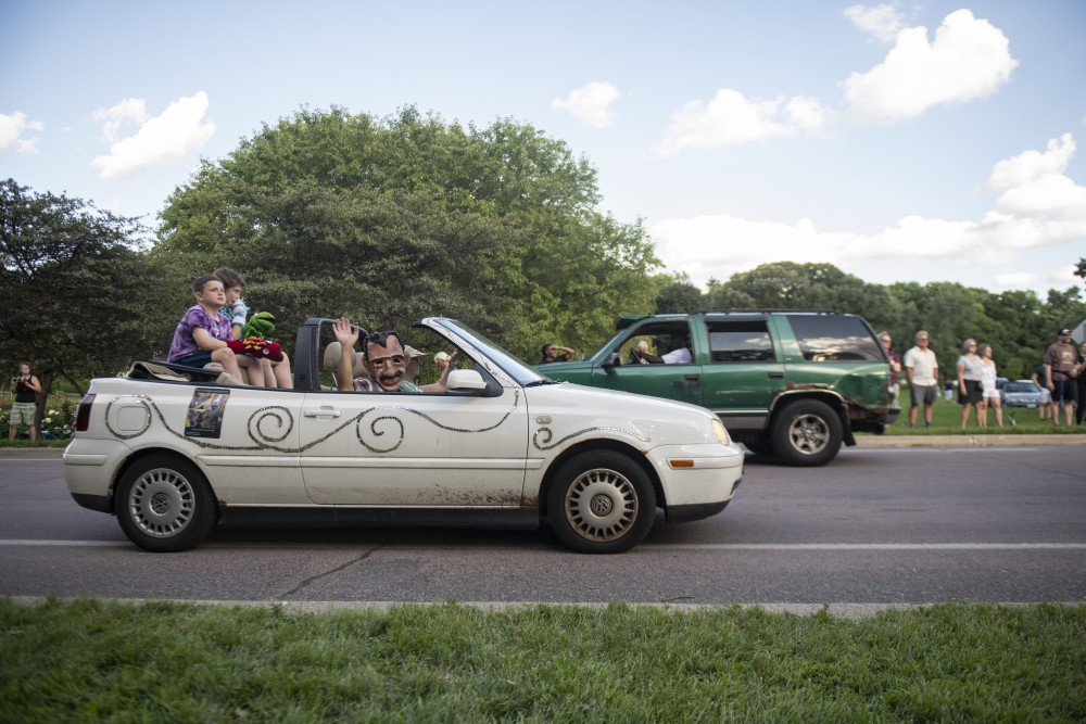 An art car drives through the ArtCar and ArtBike Parade on Saturday, July 27 at Lake Harriet in Minneapolis.