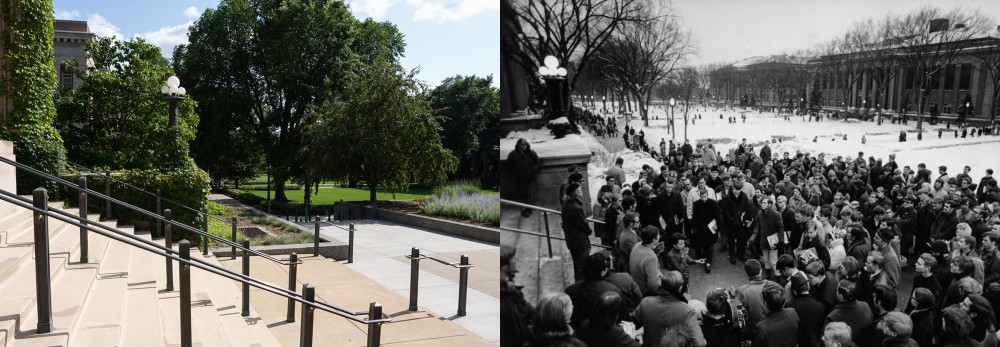 Right: The front steps of Morrill Hall seen on Monday, July 22.Left: Student Protests. Rally in front of Morrill Hall