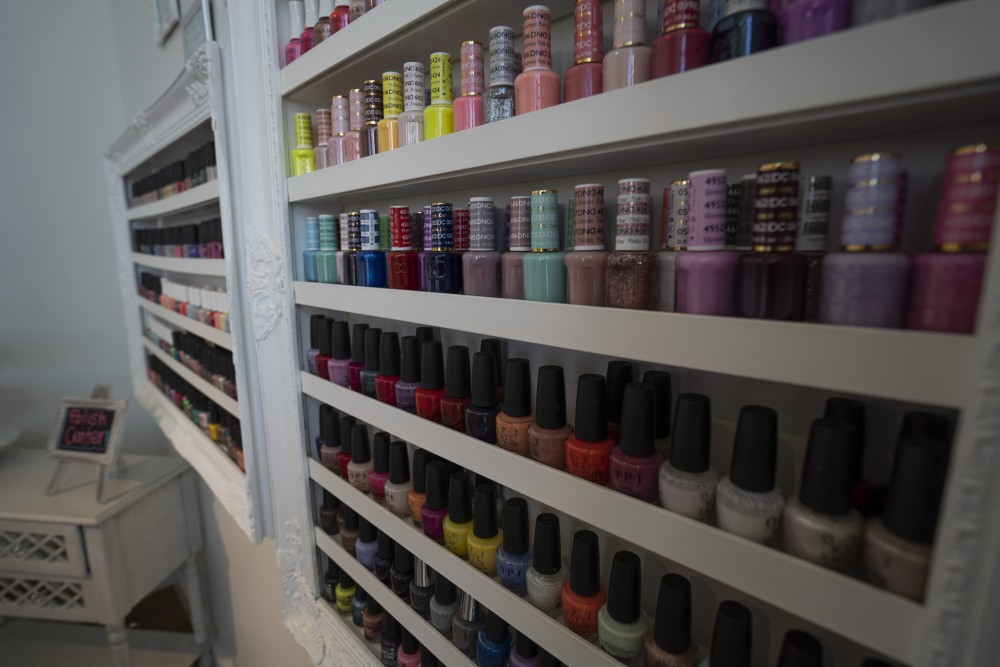 A variety of nail polishes are seen at Little Luxuries Nail Lounge in Minneapolis on Tuesday, July 30.
